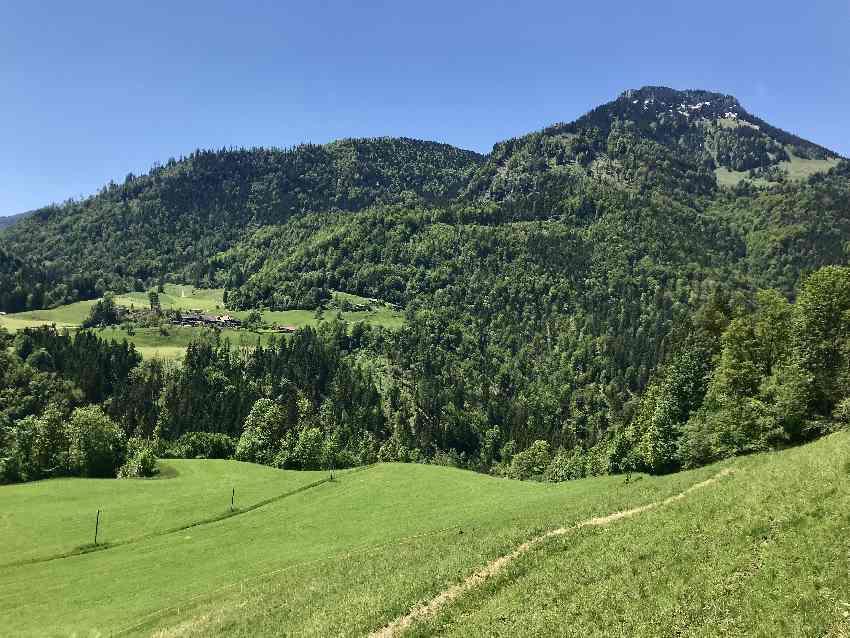 Ausblick auf die Landschaft von der Tatzlwurmstraße Oberaudorf
